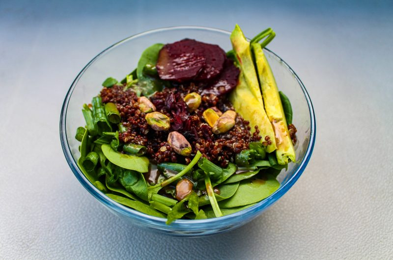 Spa Salad with Beets, Avocado and Raspberry Balsamic Vinaigrette