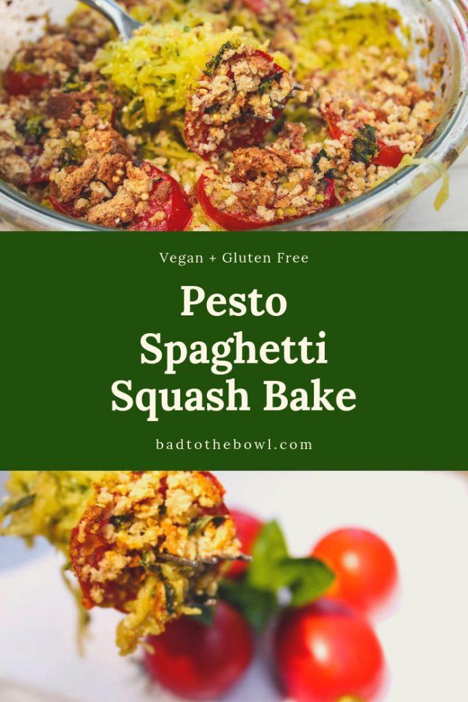 Vegan Pesto Spaghetti Squash Bake