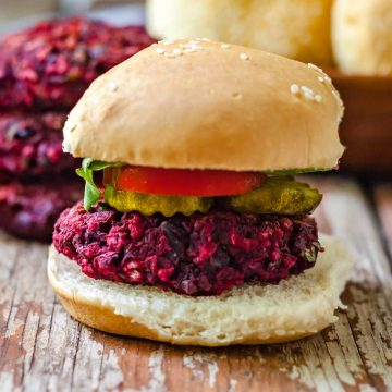 vegan black bean beet burger