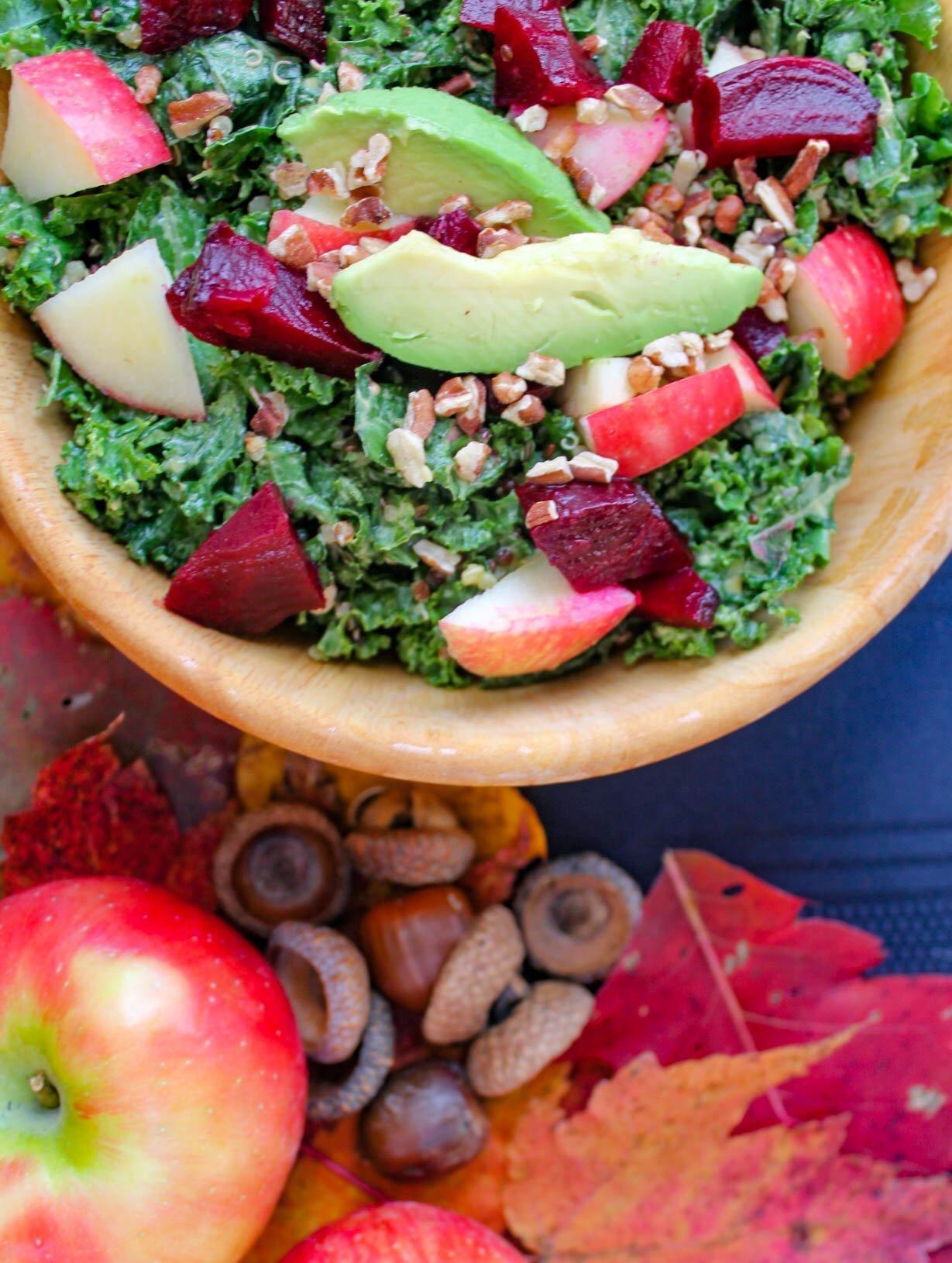 massaged kale salad with pumpkin tahini dressing