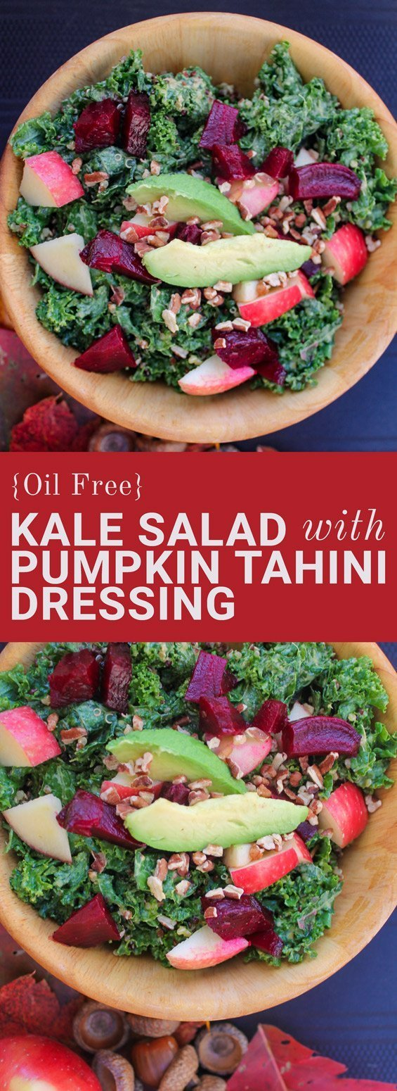 Massaged Kale Salad with Pumpkin Tahini Dressing is Healthy and Oil Free