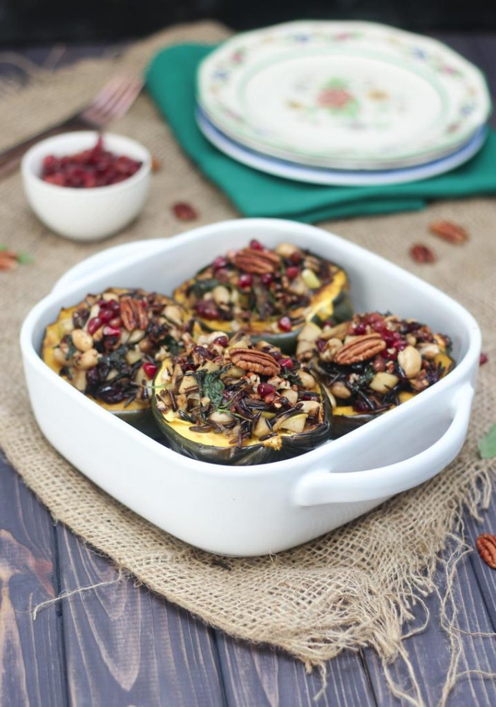 Vegan Stuffed Acorn Squash with Wild Rice, Apples and Caramelized Onions