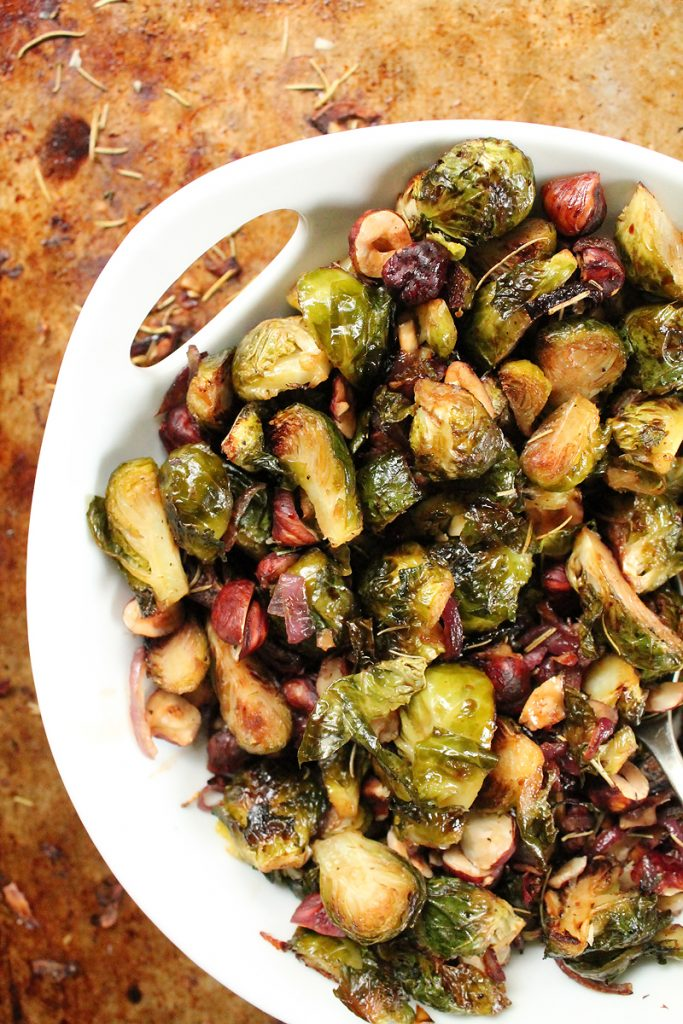 Maple Balsamic Brussel Sprouts with Hazelnuts and Rosemary
