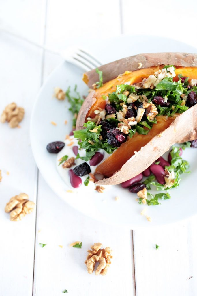 Kale Cranberry Stuffed Sweet Potatoes