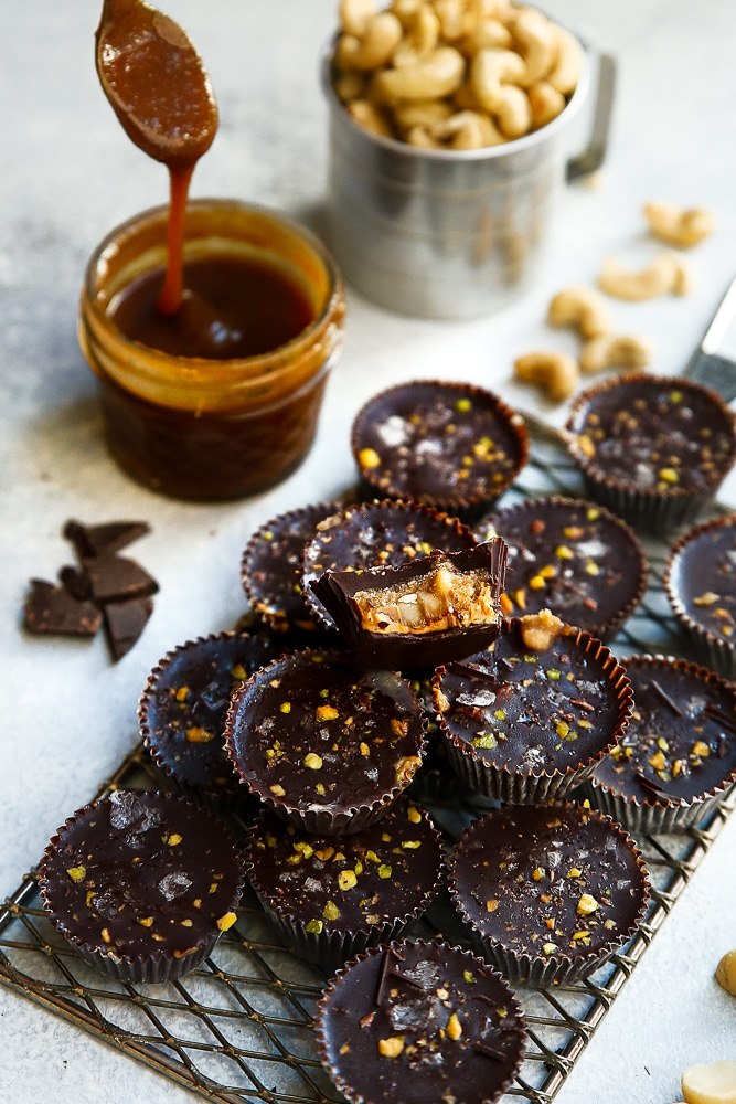 Vegan Dark Chocolate Caramel Cups