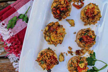 Vegan Artichoke Sun Dried Tomato Stuffed Mushrooms_-3