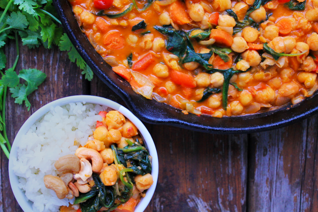 Easy One-Pan Red Curry with Spinach and Carrots + The Vegan 8 Cookbook Review