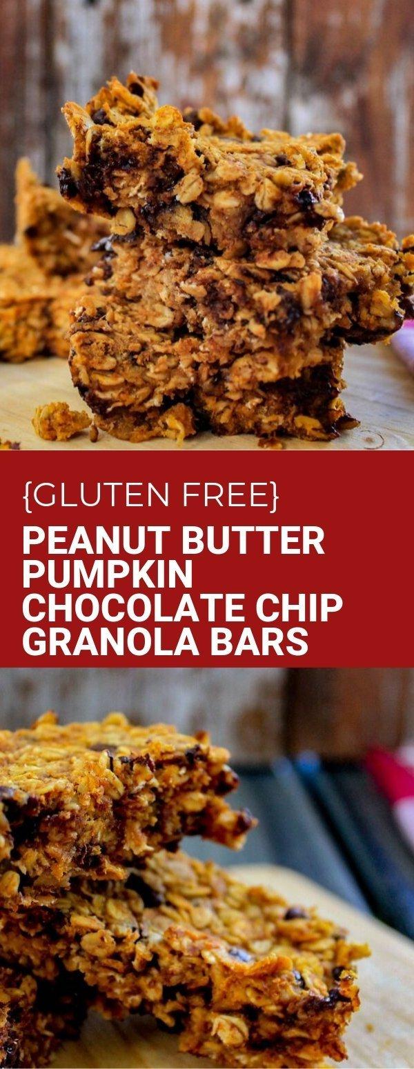 Peanut Butter Pumpkin Chocolate Chip Granola Bars