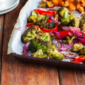 maple mustard vegetable sheet pan dinner-3