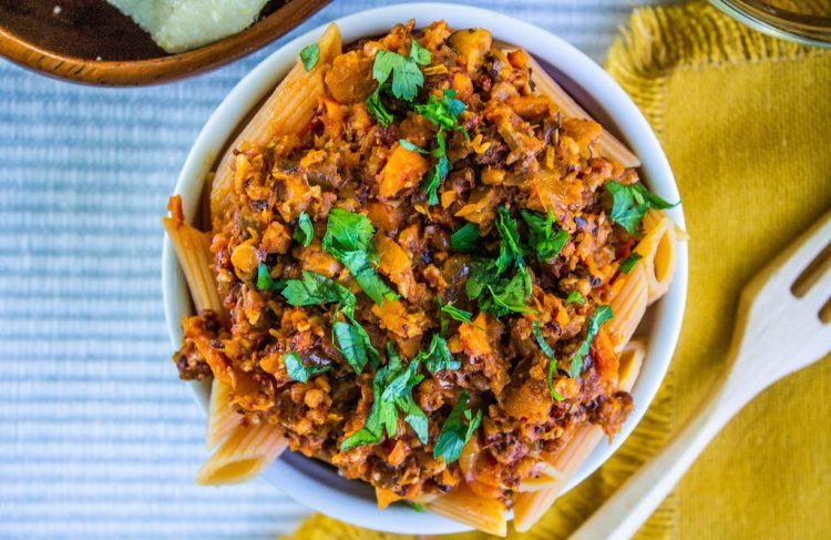 cauliflower walnut bolognese_