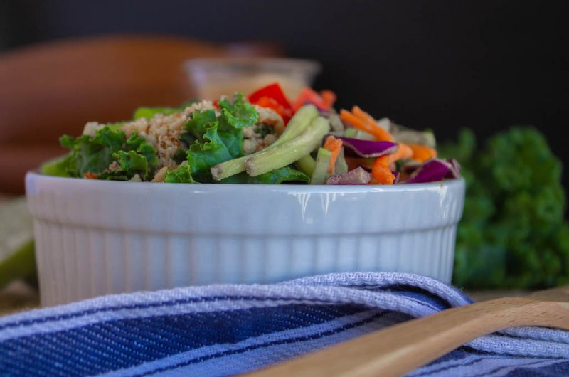 Oil Free Kale Salad with Almond Butter Lime Dressing