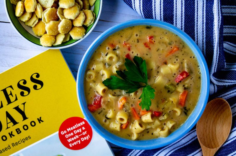 Creamy Vegetable Noodle Soup + Meatless Monday Cookbook Review