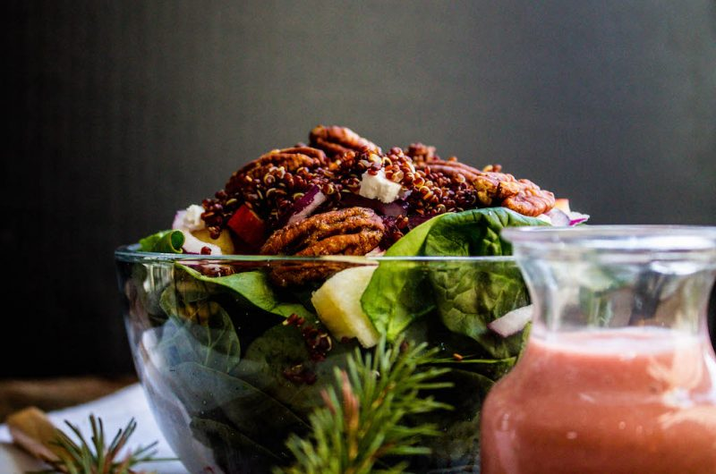 Holiday Salad with Roasted Beets, Candied Pecans and Quinoa