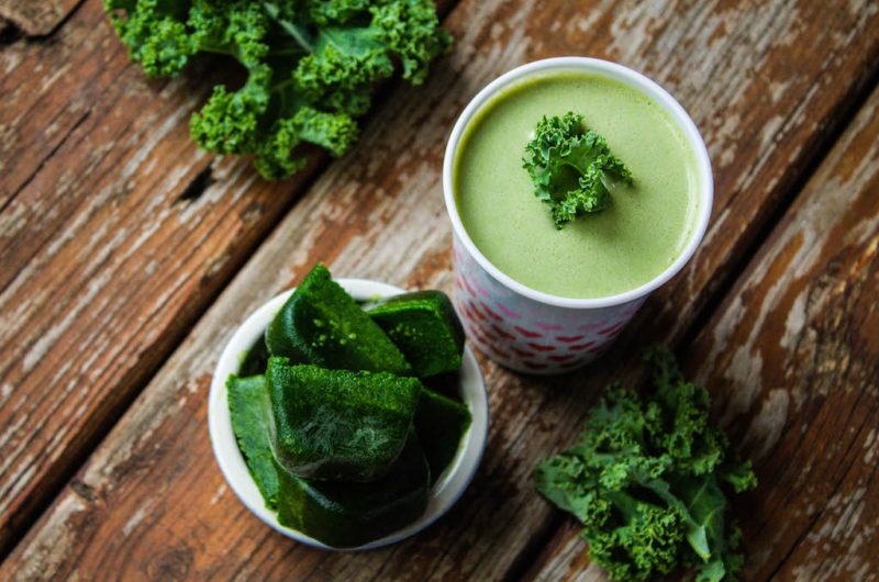 Frozen Kale Cubes (for Green Smoothies)