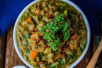 vegan lentil soup with kale