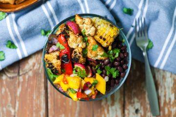 chipotle cauliflower with mango salsa vegan bowl