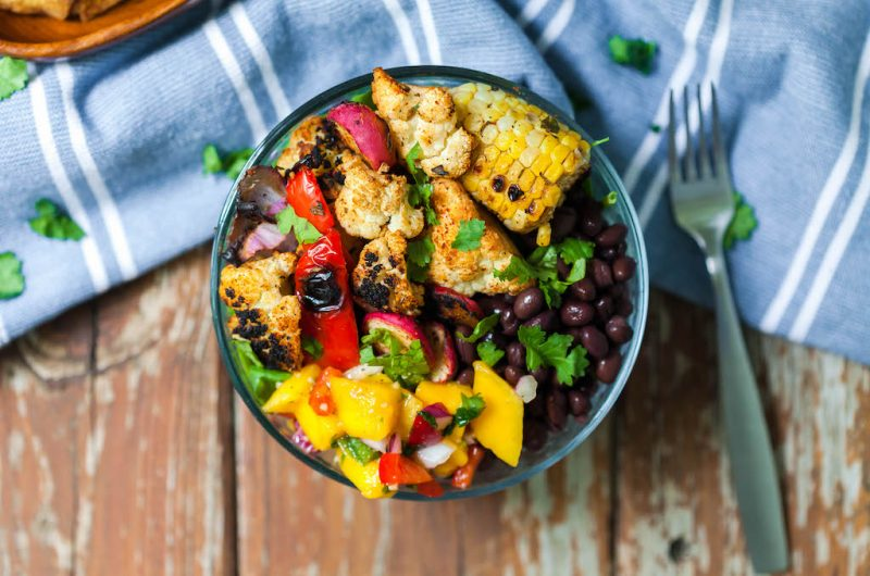 Grilled Chipotle Cauli Taco Bowl with Mango Salsa