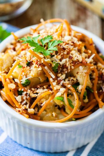 gluten free pasta with cauliflower and peas