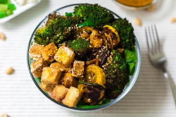 grilled vegetable buddha bowl with peanut sauce