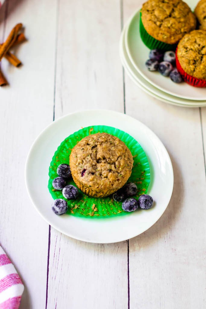 vegan zucchini banana muffins with blueberries