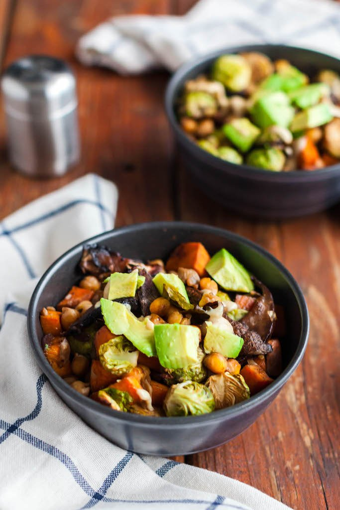 brussels sprouts and sweet potato sheet pan dinner-8