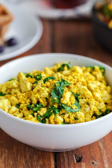 best tofu scramble with fresh spinach