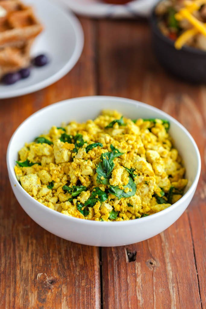 easy tofu scramble and spinach