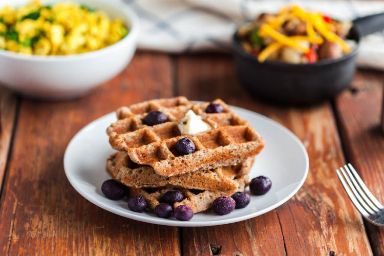 grain free pumpkin spiced waffles with blueberries