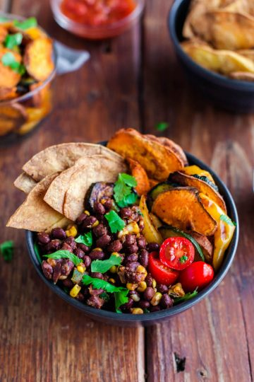 taco bowl with sweet potato chips