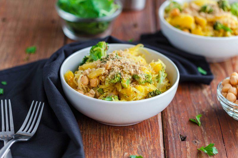 Broccoli Chickpea Spaghetti Squash Bowl